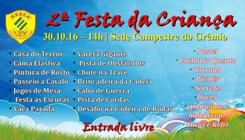NOIA Eventos - 2ª Festa da Criança - GSSCA - 30 de Outubro 2016 - Cruz Alta - RS