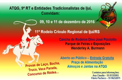 NOIA EVENTOS.com - 11º Rodeio Crioulo Regional - 09, 10 e 11 de Dezembro 2016 - Ijuí - RS