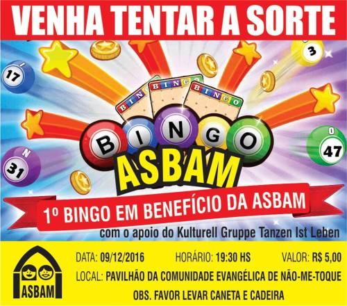 NOIA EVENTOS.com - 1º Bingo Em Benefício da ASBAM - 09 de Dezembro 2016 - Não-Me-Toque - RS