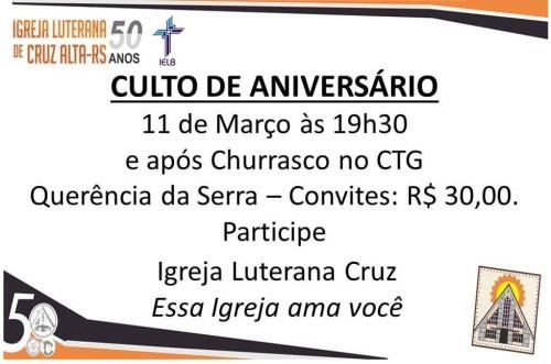 NOIAEVENTOS.com - Culto de Aniversário Igreja Luterana - 11 de Março 2017 - Cruz Alta - RS