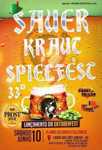 NOIAEVENTOS.com - 33ª Sauerkraut Spielfest - Festival do Chucrute - 10 de Junho 2017 - Lagoa dos Três Cantos - RS