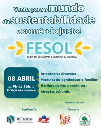 NOIAEVENTOS.com - FESOL - Feira da Economia Solidária e Criativa - 08 de Abril 2017 - Cruz Alta - RS