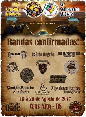 NOIAEVENTOS.com - X Hot Cruz Alta Motofest e 15º Aniversário Amo-RS - de 18 à 20 de Agosto 2017 - Cruz Alta - RS
